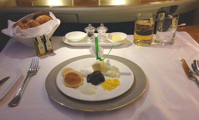 Emirates First Class - caviar