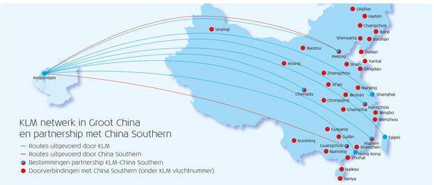 KLM 5000 FB miles bij vluchten van Amsterdam naar China