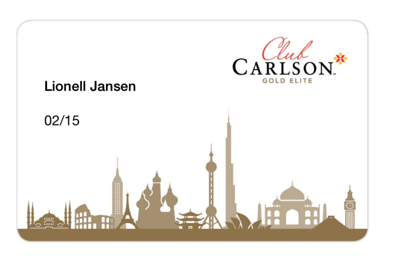 Club Carlson Gold Member Card