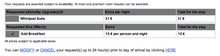 Club Carlson eStandy Upgrades