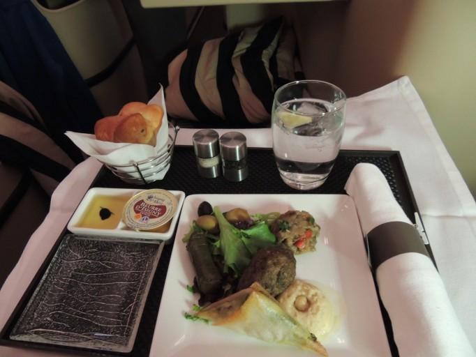 Etihad Airways business class eten