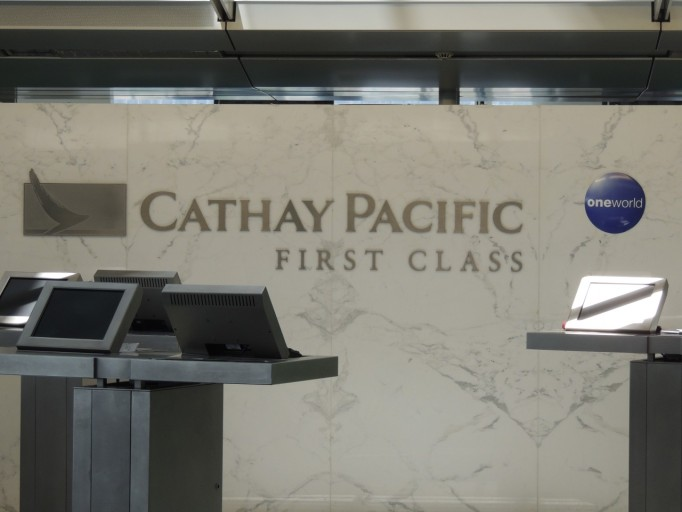Cathay Pacific First Class check-in