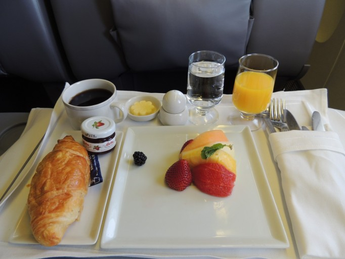 Singapore Airlines Business Class ontbijt