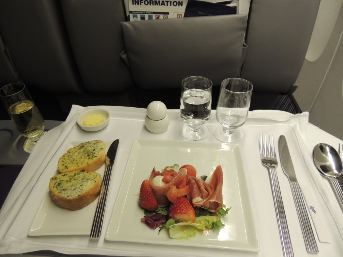 Singapore Airlines business class voorgerecht