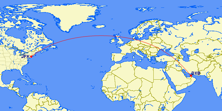 Etihad AUH-JFK map