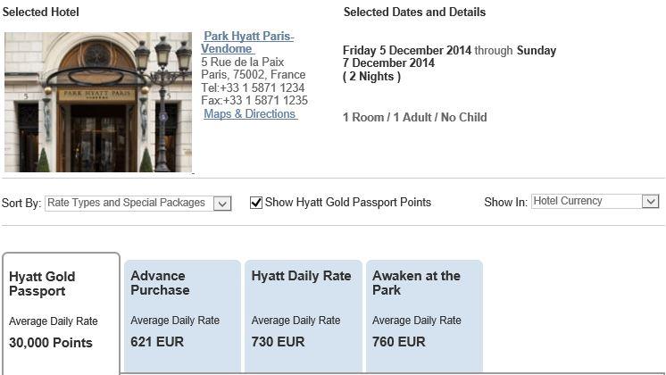 Prijzen Grand Hyatt Vendome Parijs 5-7 december