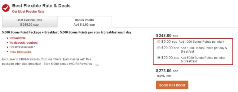 IHG bonus packages