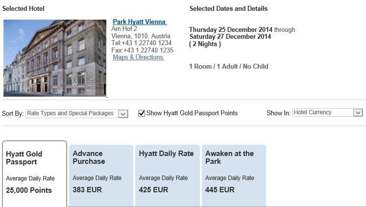Prijzen Park Hyatt Wenen 25-27 december
