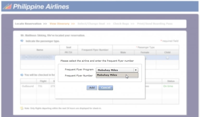 Philippine Airlines online check-in