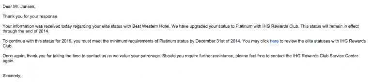 Gratis IHG Platinum Status!