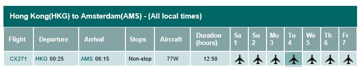 Timetabel HKG-AMS per November 1, 2014.