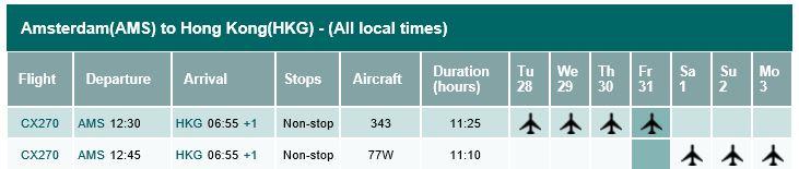 Timetable AMS HKG per November 1, 2014.