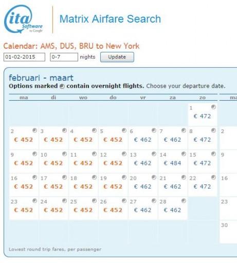 Kalenderoverzicht ITA Matrix