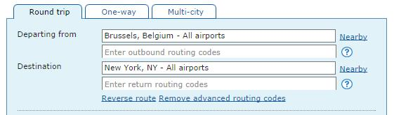 Search met advanced routing codes ITA Matrix