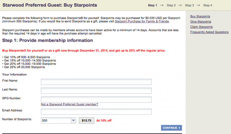 SPG Buy Starpoints Confirmation