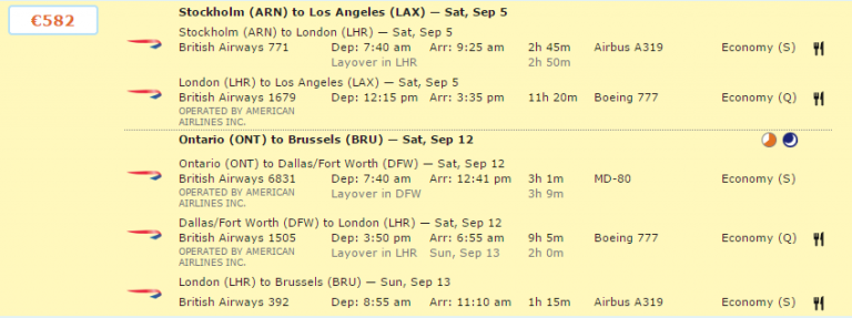 Travel Hacking - BRU-LAX optie 3
