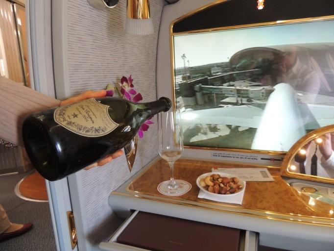 Emirates First Class champagne Dom Perignon