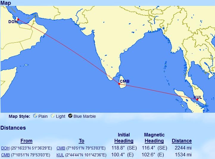 Afstanden Doha - Colombo - Kuala Lumpur