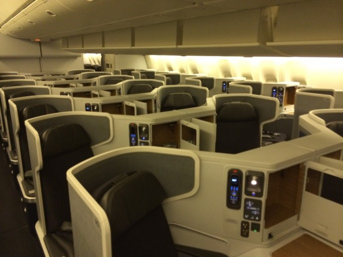 AA B77W Business class cabin