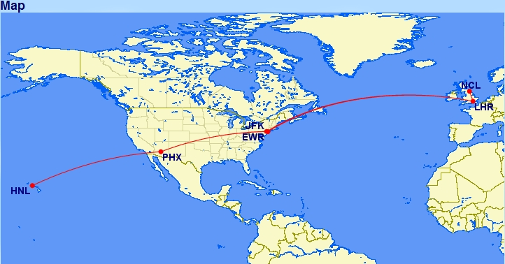 Route van Newcastle naar Honolulu via New York en Phoenix