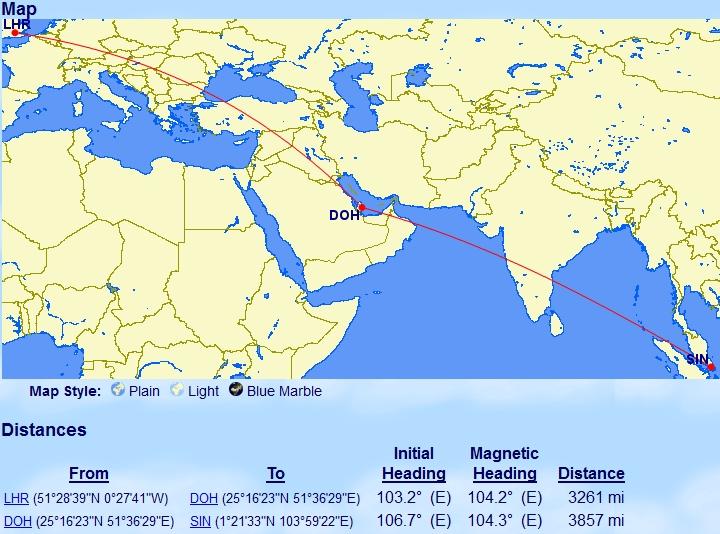 Londen naar Singapore met overstap in Doha