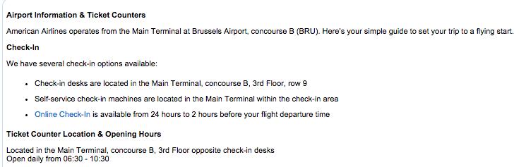 Volgens de site van BRU Airport moest er een desk zijn...
