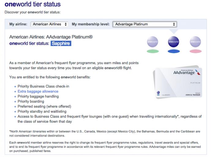 AA Plat - Oneworld Status Perks