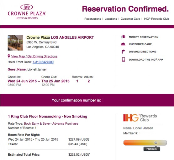 CP LAX - Reservation Confirmation