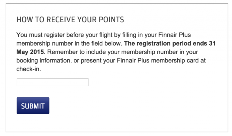 Finnair Double Points Register