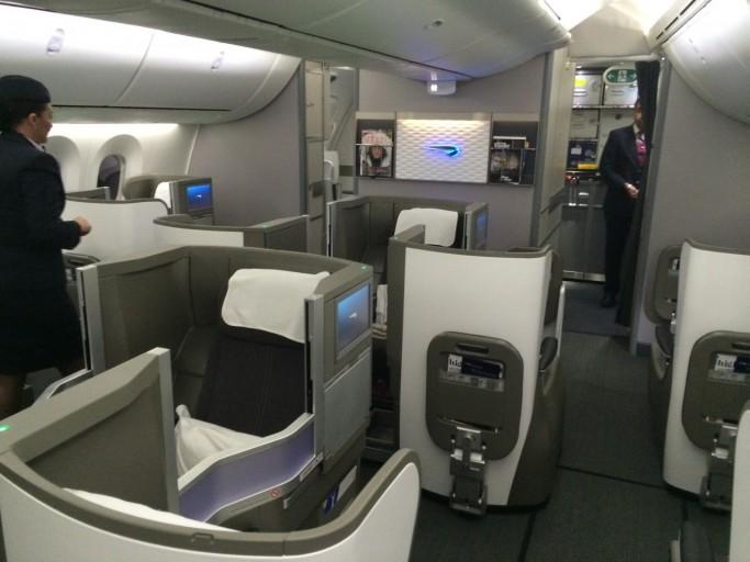 BA B787 business class cabin