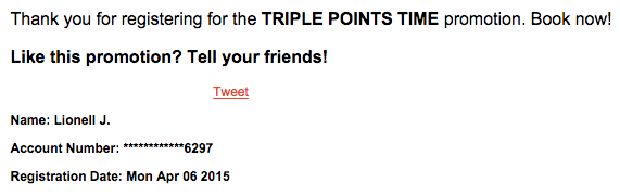 Club Carlson Triple Points Confirmation
