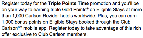 Club Carlson Triple Points Extra 1000 points
