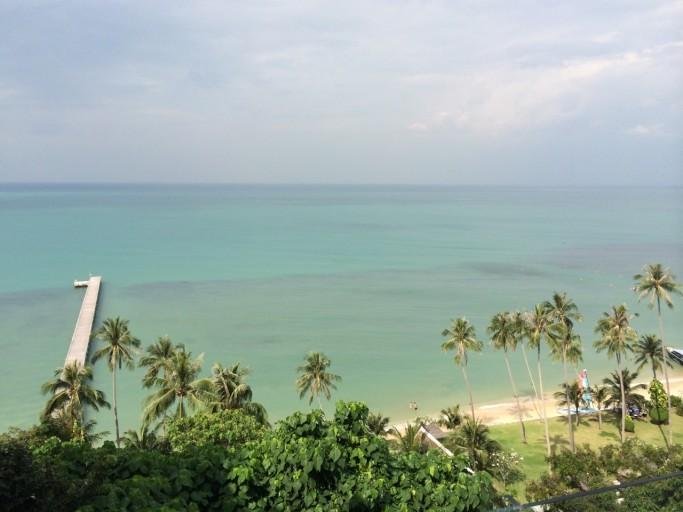 Uitzicht vanuit de kamer op zee met de bekende pier...