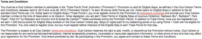 club Carlson Triple Points Terms & Conditions