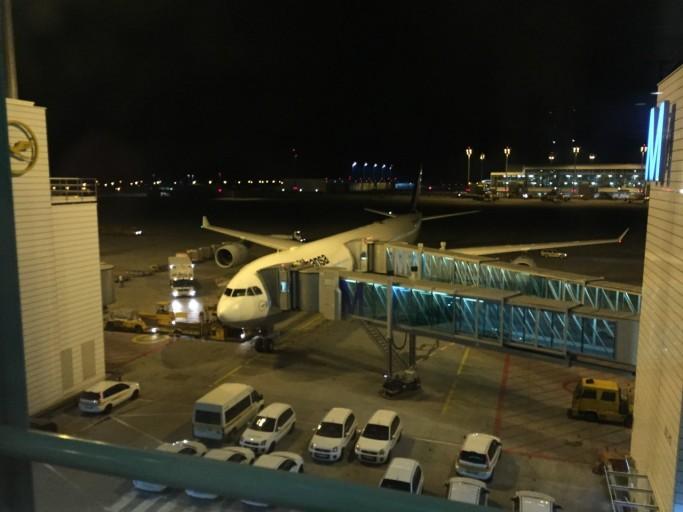Mijn A340-600 staat te wachten om naar Sāo Paulo te gaan.