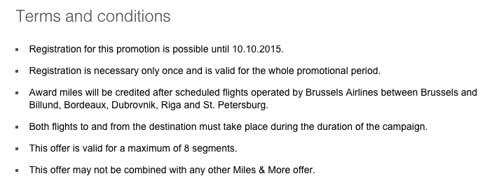 Brussels Airlines Dubbele Miles Terms