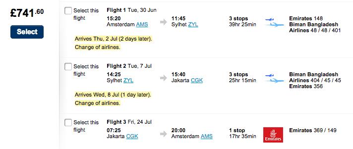 Dezelfde trip met iets meer stops voor omgerekend 1020 euro!