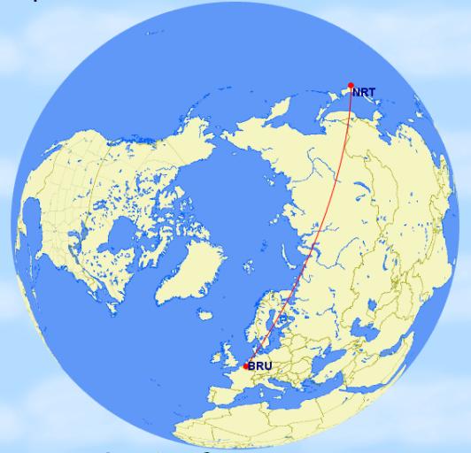 Rechtstreeks van Tokyo naar Brussel, goed voor 5892 mijlen!