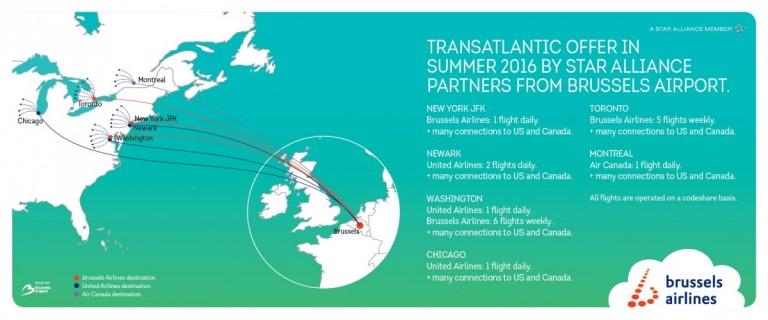 het Star Alliance trans-Atlantische netwerk naar Brussel