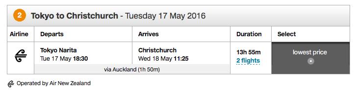 Air New Zealand RTW Ticket - Flight 2