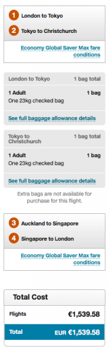 Air New Zealand RTW Ticket - Ticket Price