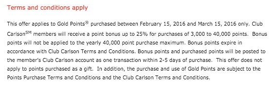 Club Carlson Punten Promotie Febr 2016 - Terms & Conditions