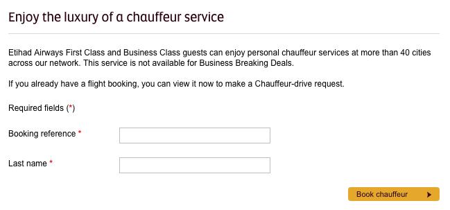 Etihad Guest Awards Boeken - Book Chauffeur Service