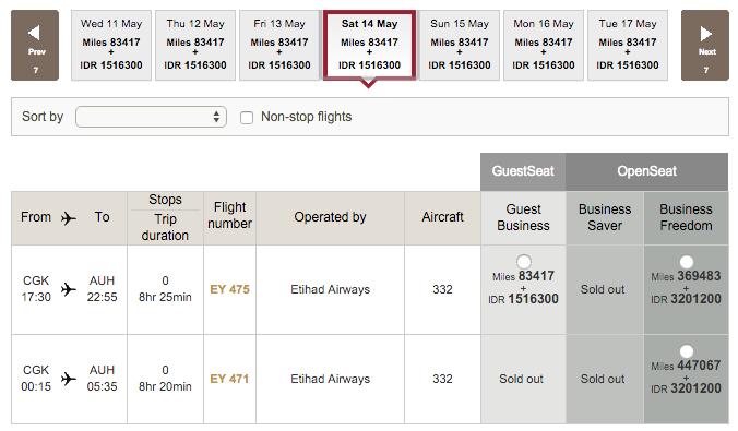 Etihad Guest Awards Boeken - Business class flight sold out