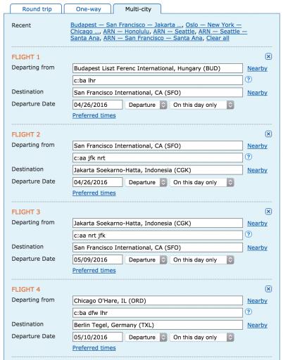 Hoe boek ik een mileage run - Voorbeeld ITA Search
