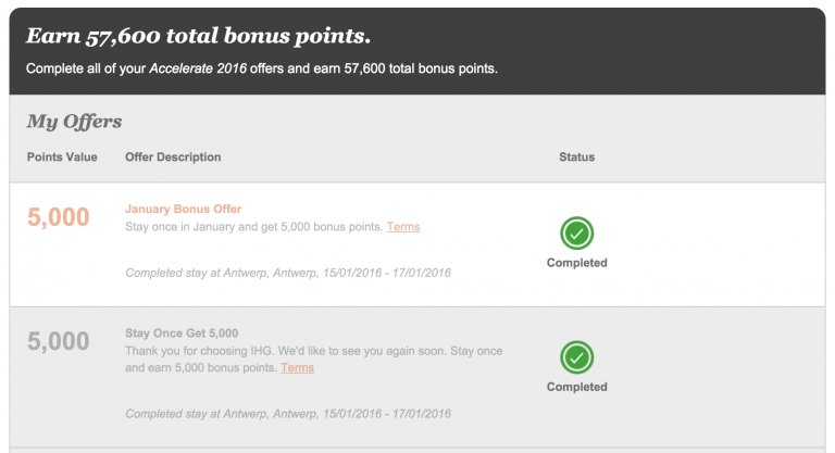 IHG Accelerate - January Bonus Offer & Stay Once