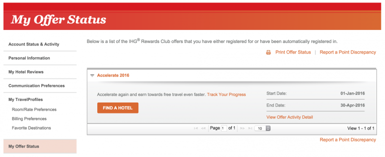 My Offer Status op de IHG site