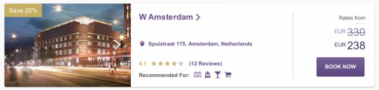 Een besparing van 20% op de rate bij W Amsterdam
