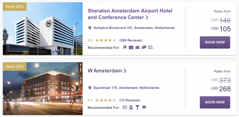 Ook deze week dezelfde hotels in Amsterdam, maar andere tarieven