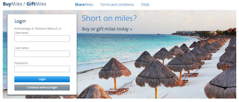 American Airlines Miles Verdienen - Buy & Gift Miles